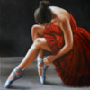 RED SWAN - 90x90 cm - oil on canvas